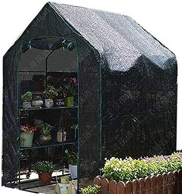 Invernaderos Plastico huerto terraza Negro con Tela de Sombra - Jardín 8 Estante Plantas Grandes y Resistentes Flores Tomate Casa de Cultivo para el Invierno Verano: Amazon.es: Hogar