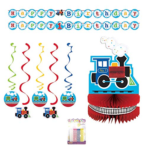 Lobyn Value Packs All Aboard Train Birthday Party Decorations Pack - Centerpiece, Swirl Decorations, Banner, with Birthday Candles -