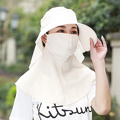 gmnscyq Chapeaux Chapeau femme été chapeau de soleil en plein air vélo chapeau de protection solaire UV couvercle visage voiture électrique pliant chapeau de soleil, 54-60cm, taille, beige