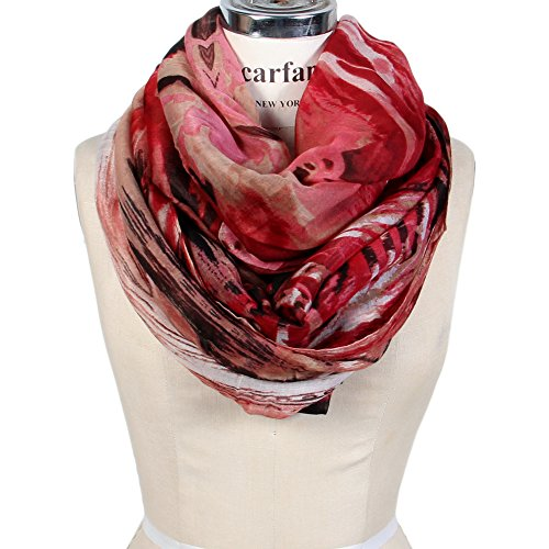 Scarfand's Mixed Color Oil Paint Infinity Fashion Scarf (BrushStroke Red & (Womens Fashion Scarf)