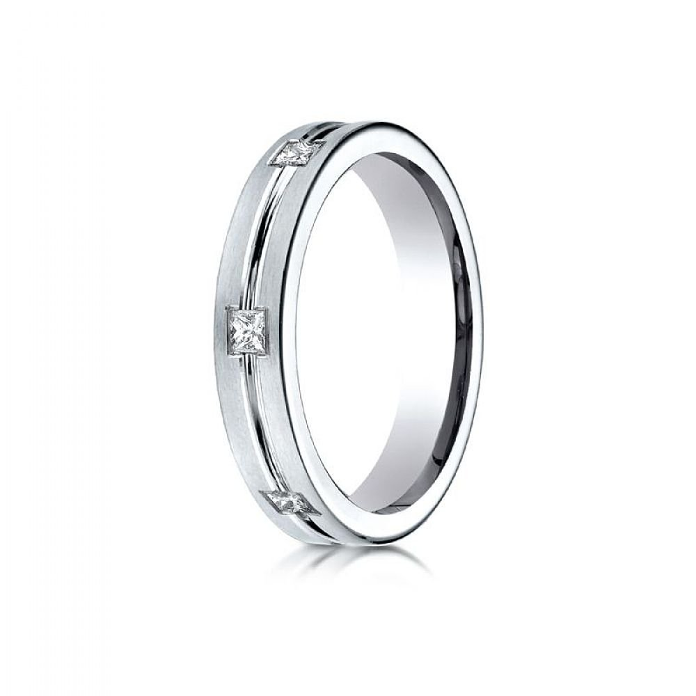 14kWhite Gold 4mm Comfort-Fit Princess Cut Burnish Set 6-Stone Eternity Ring (0.30)ctw - Size 9