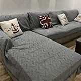 "Gatycallaty Anti-wrikle Multi-Purpose Cotton Sofa Slipcovers;Anti-Slip Knitted Sofa Towel Woolen Blanket for Baby Kid Carpet (Grey, 51"" 70"")"