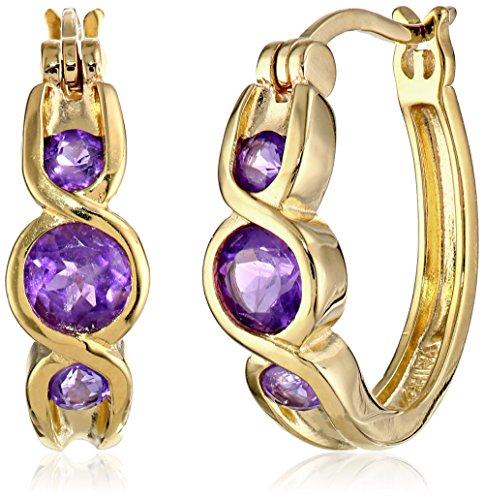 Gold Plated African Amethyst Hoop Earrings
