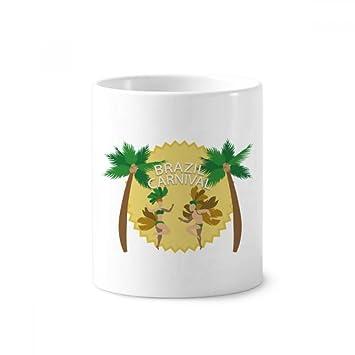 Hula Brasil Carnaval Slogan Brasil cerámica cepillo de dientes soporte taza blanco taza 350 ml regalo: Amazon.es: Oficina y papelería