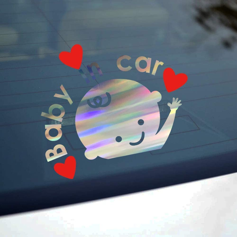 Waterproof Sunscreen Car Sticker-White biinfu Baby in The Car Sticker Personalized Infant Rear Window Cartoon Reflective Warning Paster