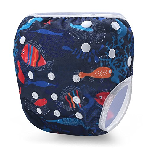 Martofbaby Baby Swim Diapers Sealife Pattern Blue Cloth Nappy Adjustable & Reusable 0-3 Years