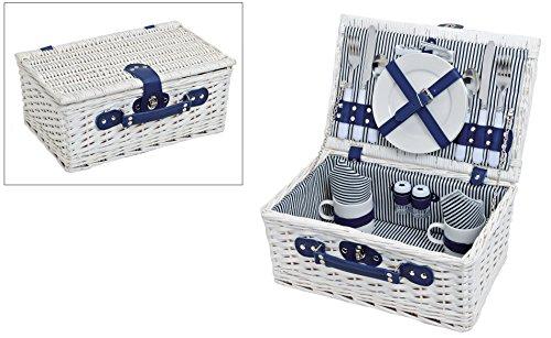 Prchen-Picknickkorb-blau-wei-gestreift-Picknick-Set-fr-2-Personen-16-Teile