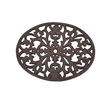 Creative Co-op Round Cast Iron Trivet, Black