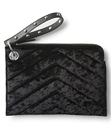 Aeropostale Womens Velour Clutch Handbag Purse, Black, Extra Small (16 in. & Under)