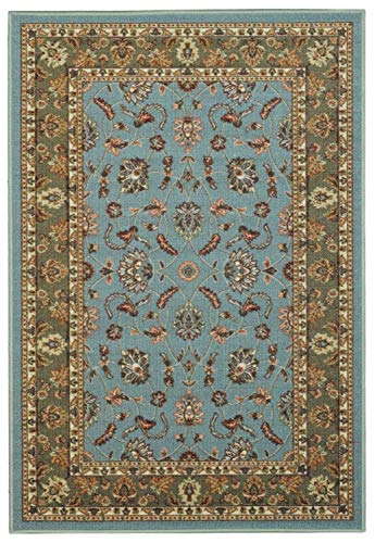 Doormat 18x30 Teal Traditional Kitchen Rugs and mats | Rubber Backed Non Skid Rug Living Room Bathroom Nursery Home Decor Under Door Entryway Floor Non Slip Washable | Made in Europe