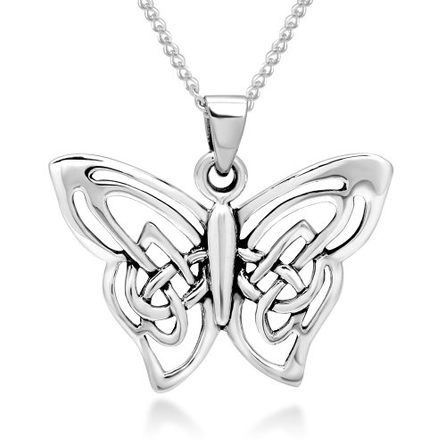 (925 Sterling Silver Celtic Butterfly Pendant Necklace, 18