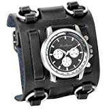 Avaner Mens Retro Steampunk Rock Black Wide Leather Bracelet Cuff Watches Big Face Round Dial Analog Quartz Sport Watch