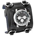 Avaner Mens Retro Steampunk Rock Black Wide Leather Bracelet Cuff Watches Big Face Round Dial Analog Quartz Sport Watch… 6