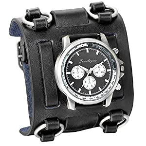 Avaner Mens Retro Steampunk Rock Black Wide Leather Bracelet Cuff Watches Big Face Round Dial Analog Quartz Sport Watch…