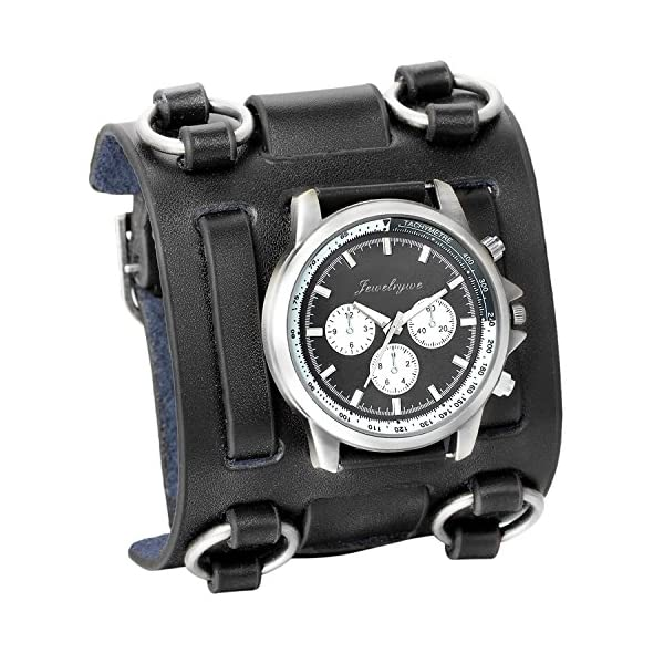 Avaner Mens Retro Steampunk Rock Black Wide Leather Bracelet Cuff Watches Big Face Round Dial Analog Quartz Sport Watch… 3