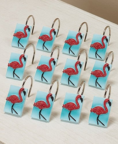 Set of 12 Flamingo Shower Hooks for Bathroom by Paradise Bath Collection