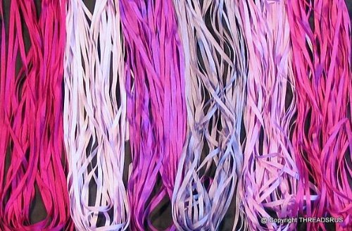New 7mm Size ThreadNanny 6 Spools of 100% Pure Silk Ribbons - Purple Tones - 60 mts x 7mm by ThreadNanny