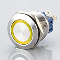 Platt LED – strömbrytare – diameter Ø 25 mm – av V2A rostfritt stål – damm- och vattentät enligt IP67 skyddsstandard AC…