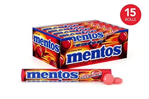Mentos Chewy Mint Candy Roll, Cinnamon, Party, Non Melting, 1.32 Ounce/14 Pieces (Pack of 15) -