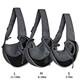 YUDODO Pet Dog Sling Carrier Breathable Mesh Travel Safe Sling Bag Carrier for Dogs Cats (L(10-15lbs), Black