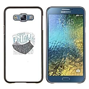 YiPhone /// Prima de resorte delgada de la cubierta del caso de Shell Armor - sígueme blanca barco azul barco dios arca - Samsung Galaxy E7 E700