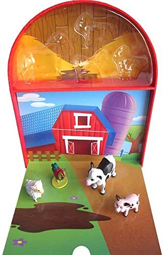 Farmyard Friends Fun on The Farm My Mini Busy Book~ 4 Farm Animal Figures and a Playboard. Fun Gift For Christmas, Hanukkah or Any Holiday