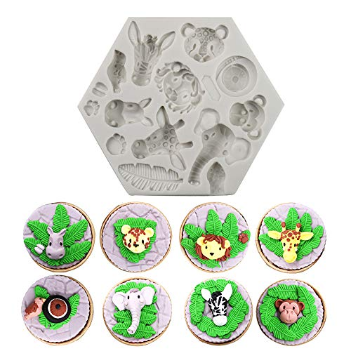 Alexless Animals Themed Elephant Lion Giraffe Monkey Animal Forest Silicone Molds Fondant Cake Decorative Tools Candy Chololate Soap Clay Making Molds for Baby Shower Birthday Party, Wedding - Giraffe Soap