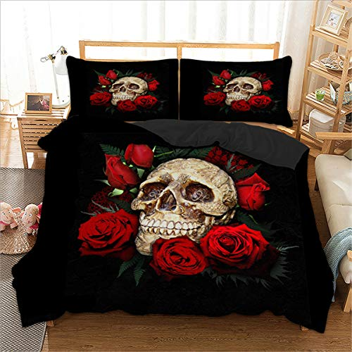 Red Rose Skull Bedding Duvet Cover Set 3D Floral Skull Printed Duvet Cover with Zipper Closure 2 Pillow Shams Soft Microfiber Gothic Decor for Adults Queen Size ()