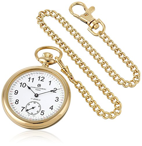 Watch Stainless Pocket 14k Steel - Charles-Hubert, Paris Gold-Plated Open Face Mechanical Pocket Watch