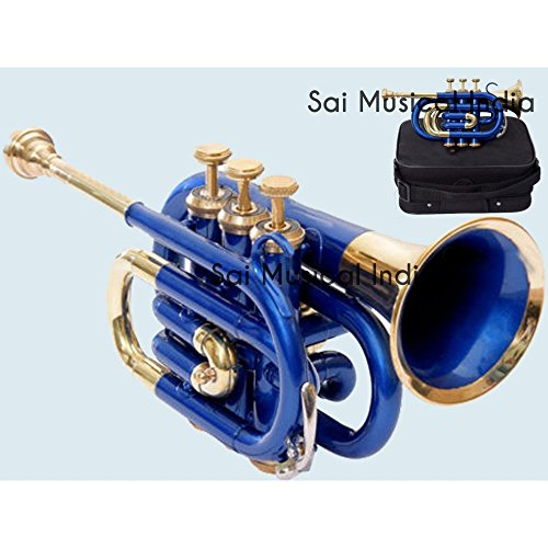 Sai Musical India PoTr-05, Pocket Trumpet, Bb, Blue by Sai Musical India (Image #1)