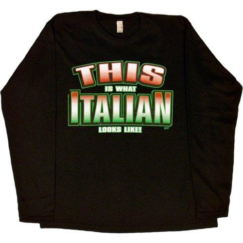 WOMENS L/S T-SHIRT : BLACK - L - This is What Italian Looks Like - Ethnic -