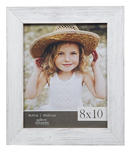 Gallery Solutions 8x10 Farmhouse Washed Wall Frame in - White Picture Frame Distressed