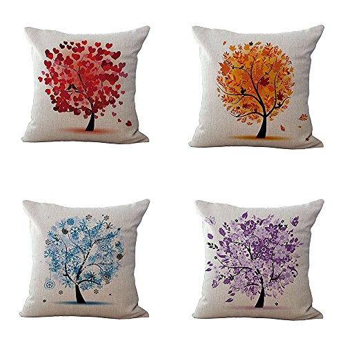 Ashasds Cartoon Colorful Love Tree Spring Summer Autumn Winter Cotton Throw Pillow Covers with Zips Accent Pillows Case for Girls Family Children Size: 20x20 Inches Two Sides(4PC) ()