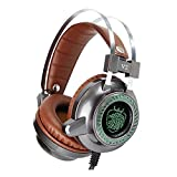 Dollermy Gaming Headset,USB Wired with LED Light Stereo Noise Isolating Earphone with Mic (Pc/Mac/Notebook)