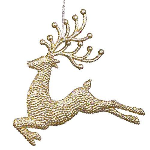 Gold Diamond Glittered Reindeer Ornaments 6 inch Deer Leaping Across