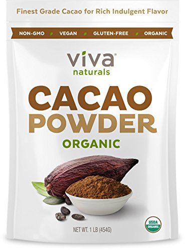 Viva Naturals #1 Best Selling Certified Organic Cacao Powder from Superior Criollo Beans, 1 LB Bag Best-Selling