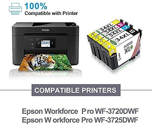 Toner Kingdom 4 Paquetes Compatibles Cartuchos de Tinta para Epson 34XL (T3471 T3472 T3473 T3474) para Epson Workforce Pro WF-3720DWF Impresora ...