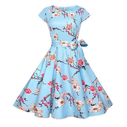 Birdfly Spring Summer Nine Type Women Black & White Vintage Hepburn Style Flower & Leaves PrintBeam Waist Ball Gown Dress Plus 2L (XL, Blue(Type 47)) from Birdfly