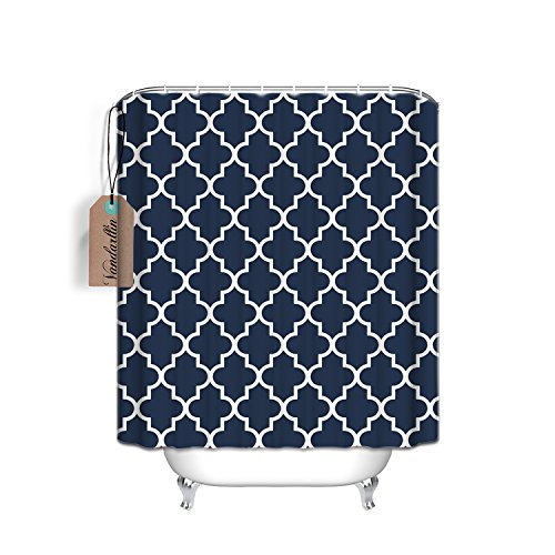 Custom Navy Blue Quatrefoil Pattern Bathroom Waterproof Polyester Fabric Shower Curtain (Extra Long 72