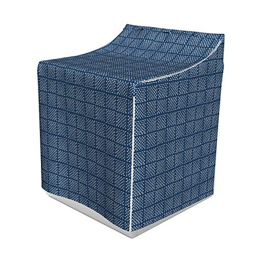 - Lunarable Blue and White Washer Cover, Abstract Basketweave-Like Pattern Dashed Lines Digital Image Print, Easy to Use Bathroom Accent Fabric, 29
