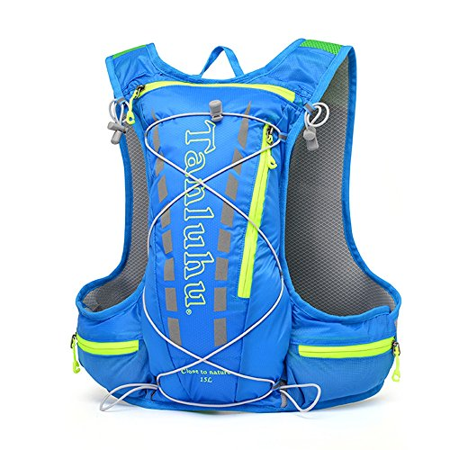 TANLUHU Breathable Vest Bag, NACATIN Water-Resistant and Lightweight Hydration Vest Backpack 15L Capacity, Adjustable Shoulder Straps for Running Cycling Hiking Climbing (BLUE)