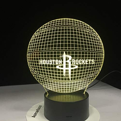 Houston Rockets Acrylic Lamp Basketball 3D Led Night Light Novelty Gifts 7 Colors Changing Desk Table Lamp for Boys Gifts