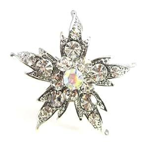 Anillo de plata, diseño de flores con cristales: Amazon.es