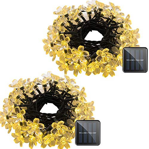 VMANOO Solar Outdoor Christmas String Lights 21ft 50 LED Fairy Flower Blossom Decorative Light for Indoor Garden Patio Party Xmas Tree Decorations 2 Pack (Warm White) ()