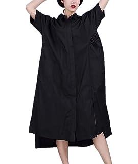 31a6f8391 YESNO QE2 Women Long Button-Down Shirts Dress Casual Maxi Loose Hi-Low  Coffee
