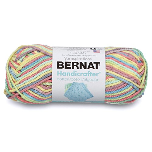 Bernat Handicrafter Cotton Ombre Yarn, 1.5 oz, Gauge 4 Medium, 100% Cotton, Candy Spinkle Ombre ()