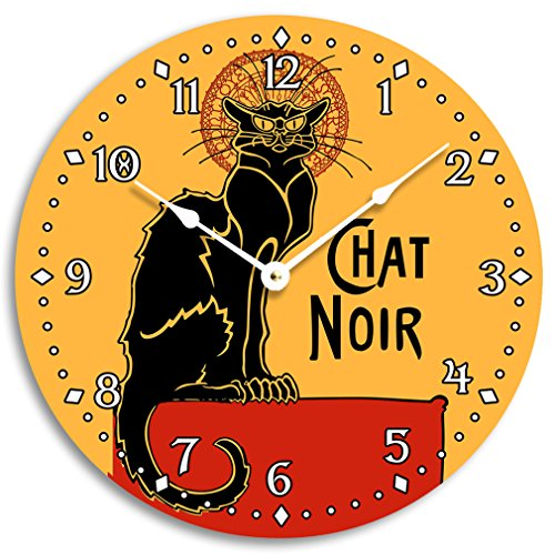 Vintage French black cat chat noir design wall clock. 10 inch wall clock.
