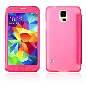 Amtonseeshop Latest Popular Hot Sales View Window Leather Case for Samsung Galaxy S5 I9600 G900 (Hot Pink) by ruishername