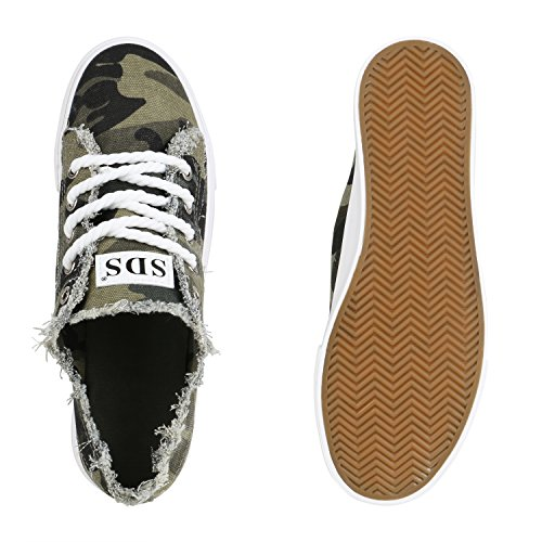 Stiefelparadies Damen Sneaker Low Fransen Turnschuhe Prints Stoff Schuhe Schnürer Flandell Camouflage