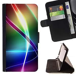 Modelo del arco iris iridiscente- Modelo colorido cuero de la carpeta del tirón del caso cubierta piel Holster Funda protecció Para Sony Xperia Z3 Plus / Z3+ / Sony E6553 (Not Z3)